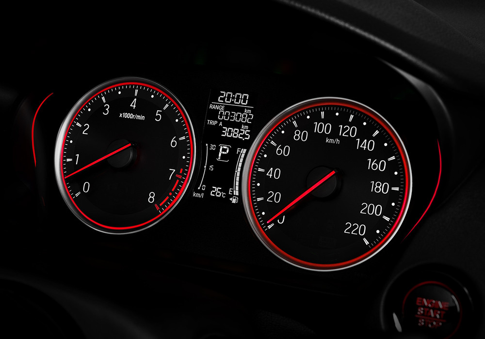 Sporty Meter Cluster with Red Accent